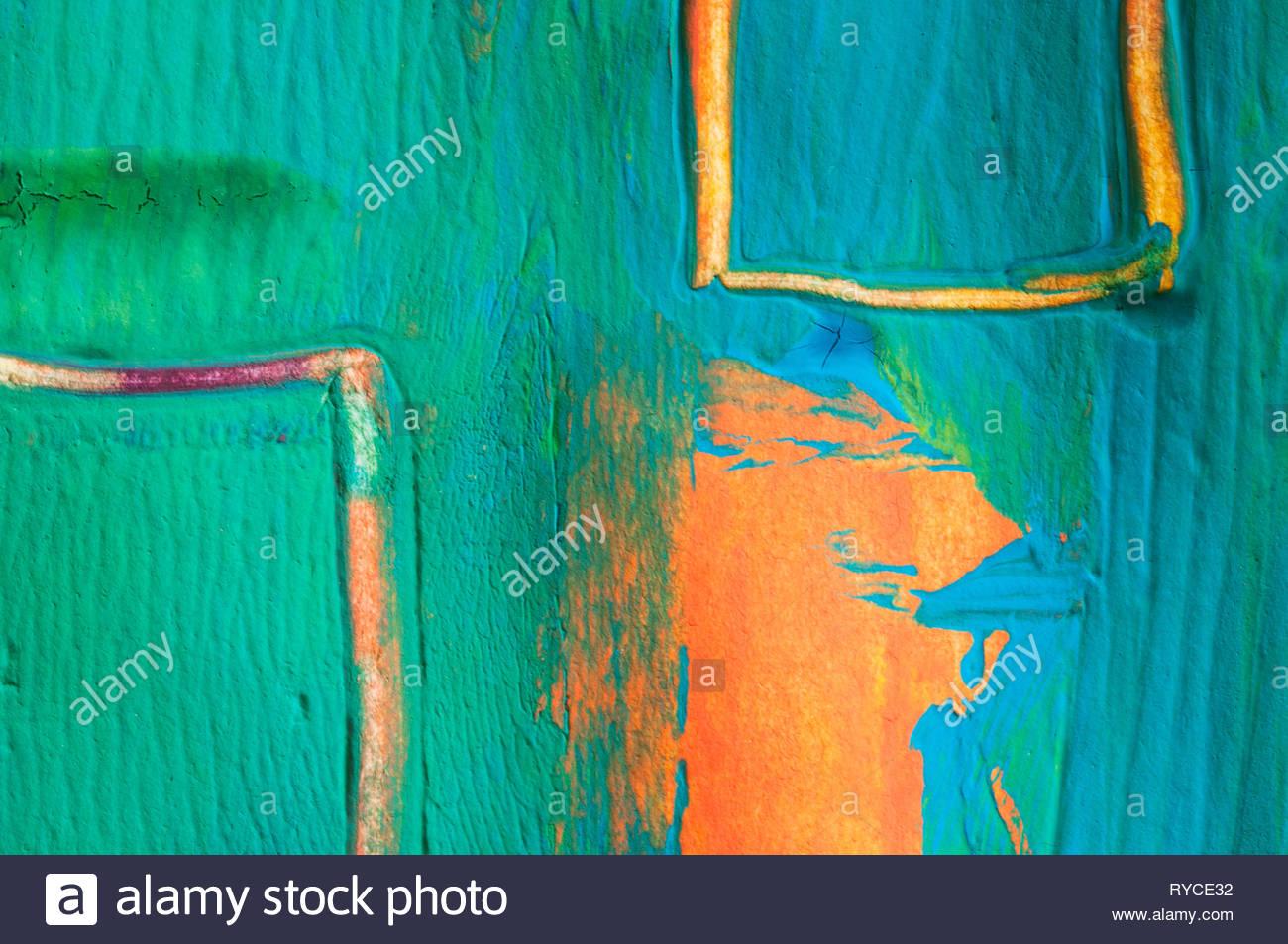 Abstract gouache pittura blu verde, rosso arancio Immagini Stock