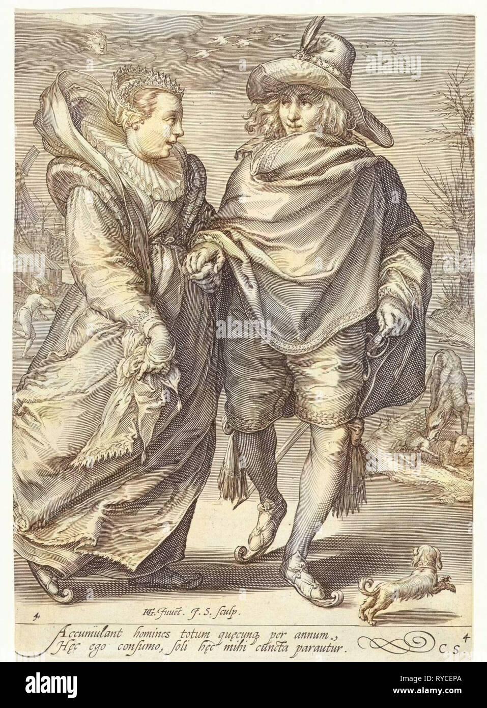 Inverno, Jan Saenredam, Cornelius Schonaeus, 1601 Immagini Stock