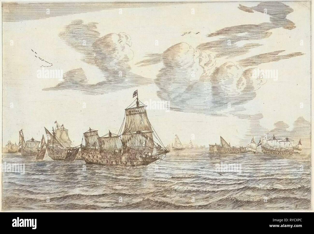 Dopo la battaglia, Reinier Nooms, 1652 - 1670 Immagini Stock
