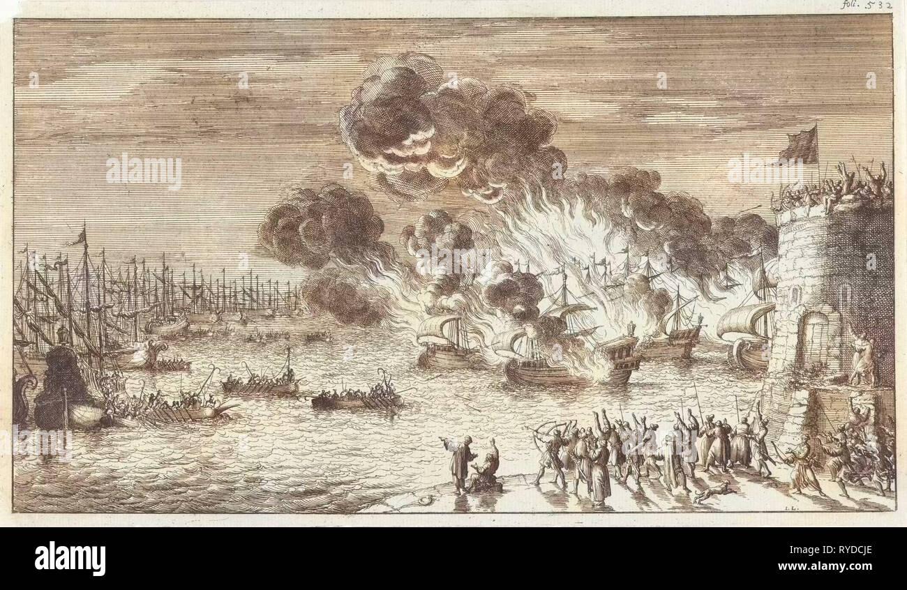 Sforzo inutile dei greci di bruciare la flotta veneziana, Jan Luyken, Timoteo dieci Hoorn, 1683 Immagini Stock