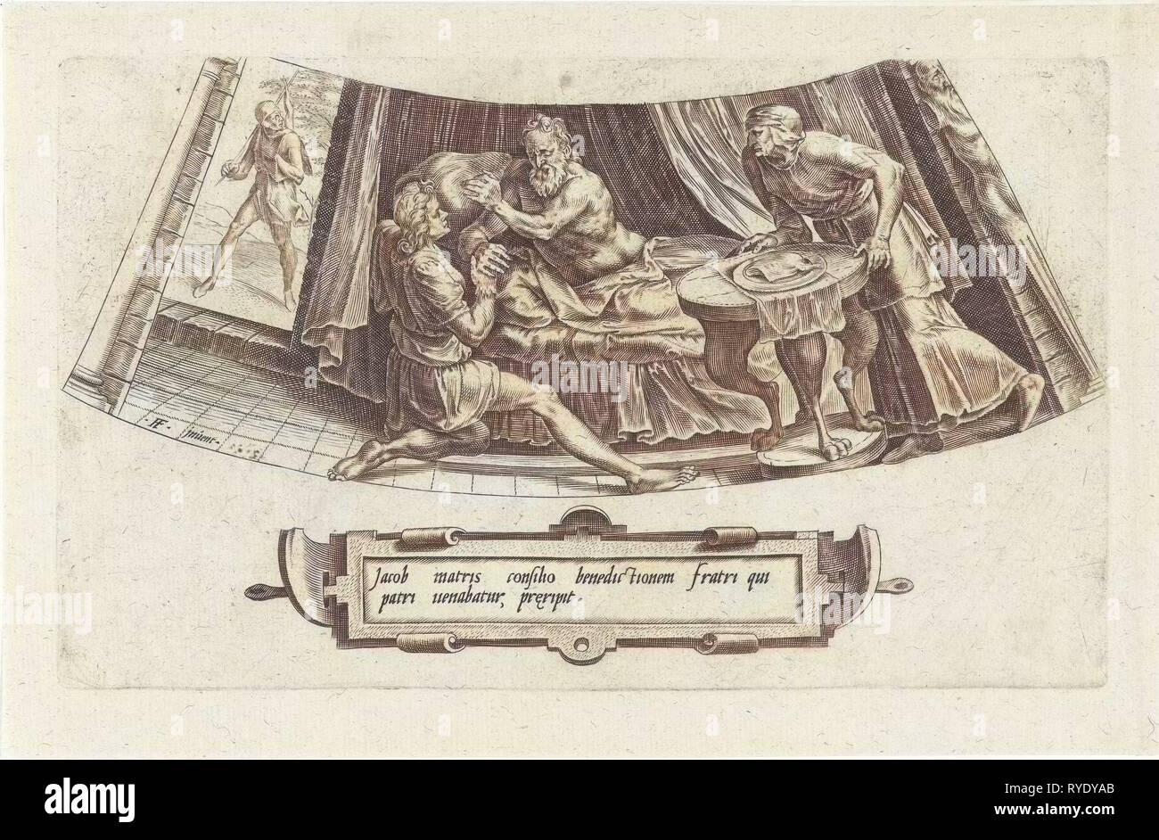 Giacobbe ottiene la paterna benedizione di Isacco, Cornelis Cort, Julius Goltzius, dopo 1563 - prima di c. 1601 Immagini Stock