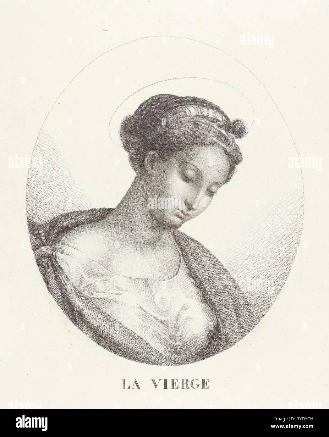 Busto di Maria in ovale, François Deleu, 1800 - 1899 Immagini Stock