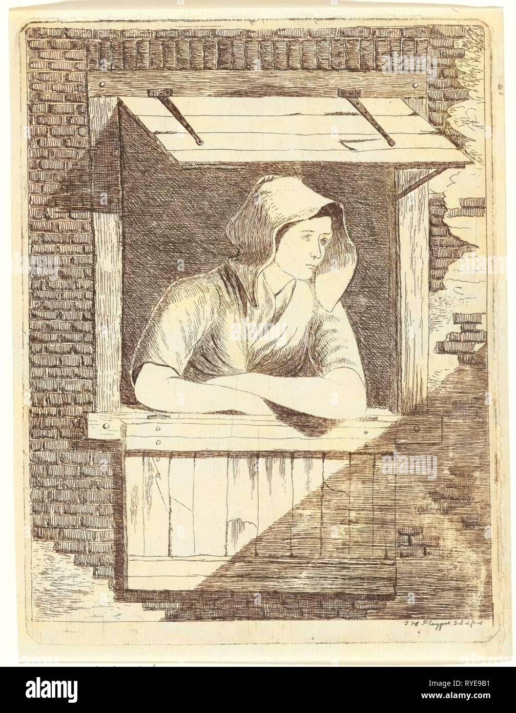 Una donna con un cappuccio sulla testa appoggiata fuori una finestra con persiane orizzontali, stampa maker: J.H. Pluygers (menzionato in oggetto), risalente 1800 - 1899 Immagini Stock