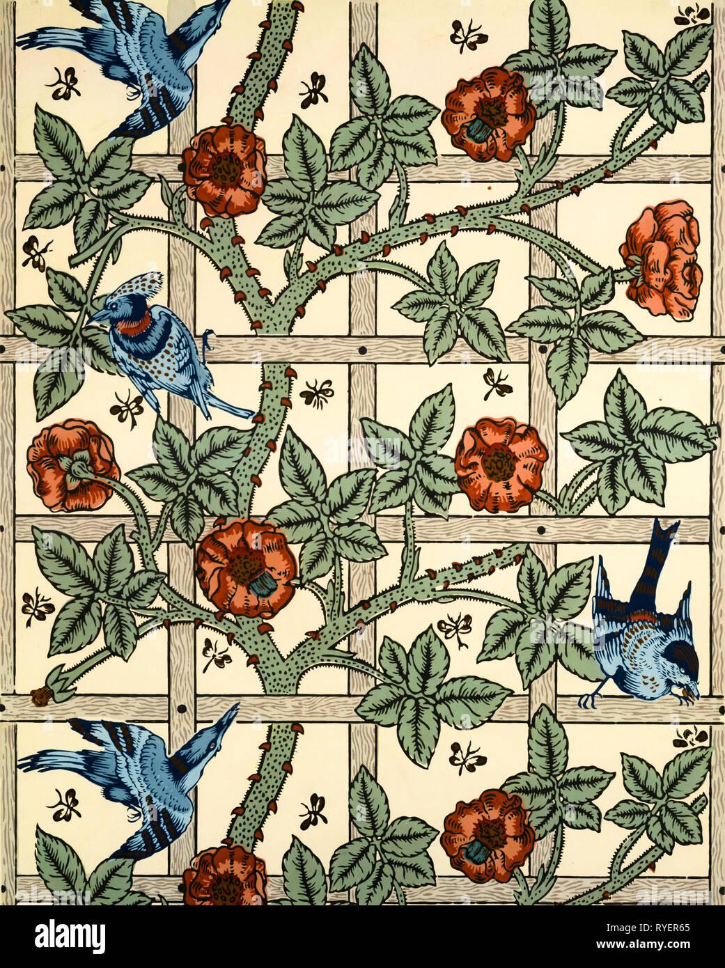William Morris, sfondo pattern design Trellis, 1862 Immagini Stock
