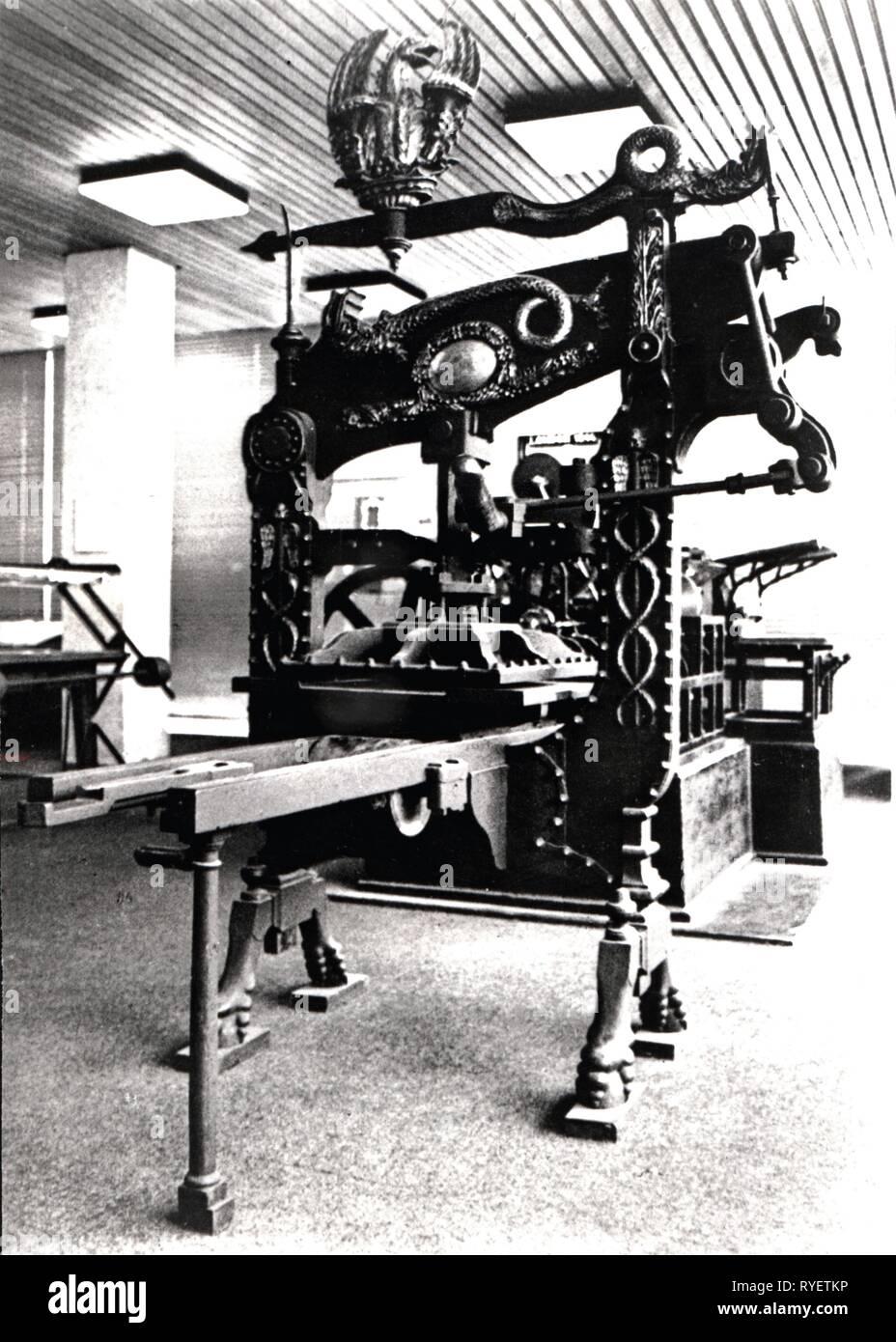 Technics, tipografia, macchinari, Columbian stampa di George E. Clymer, circa 1815, visualizzazione degli anni sessanta, Additional-Rights-Clearance-Info-Not-Available Immagini Stock