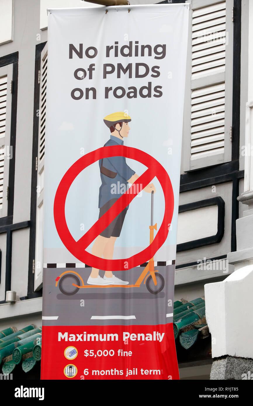 Segno di scooter. Nessun cavallo su strade. Singapore. Immagini Stock