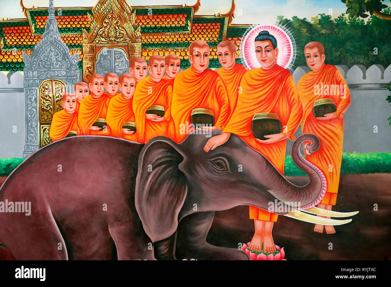 La vita del Buddha, Siddharta Gautama. Addomesticare un elefante con amorevole gentilezza - Nalagiri era il Royal Elephant Soc Po Lok tempio buddista. Cha Immagini Stock