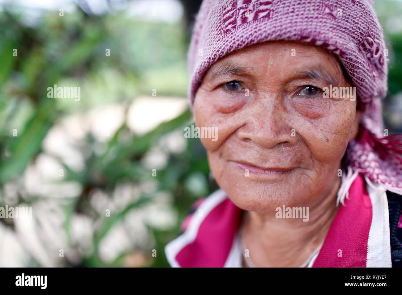 Senior minoranza etnica donna. Ritratto. Dalat. Il Vietnam. Foto Stock