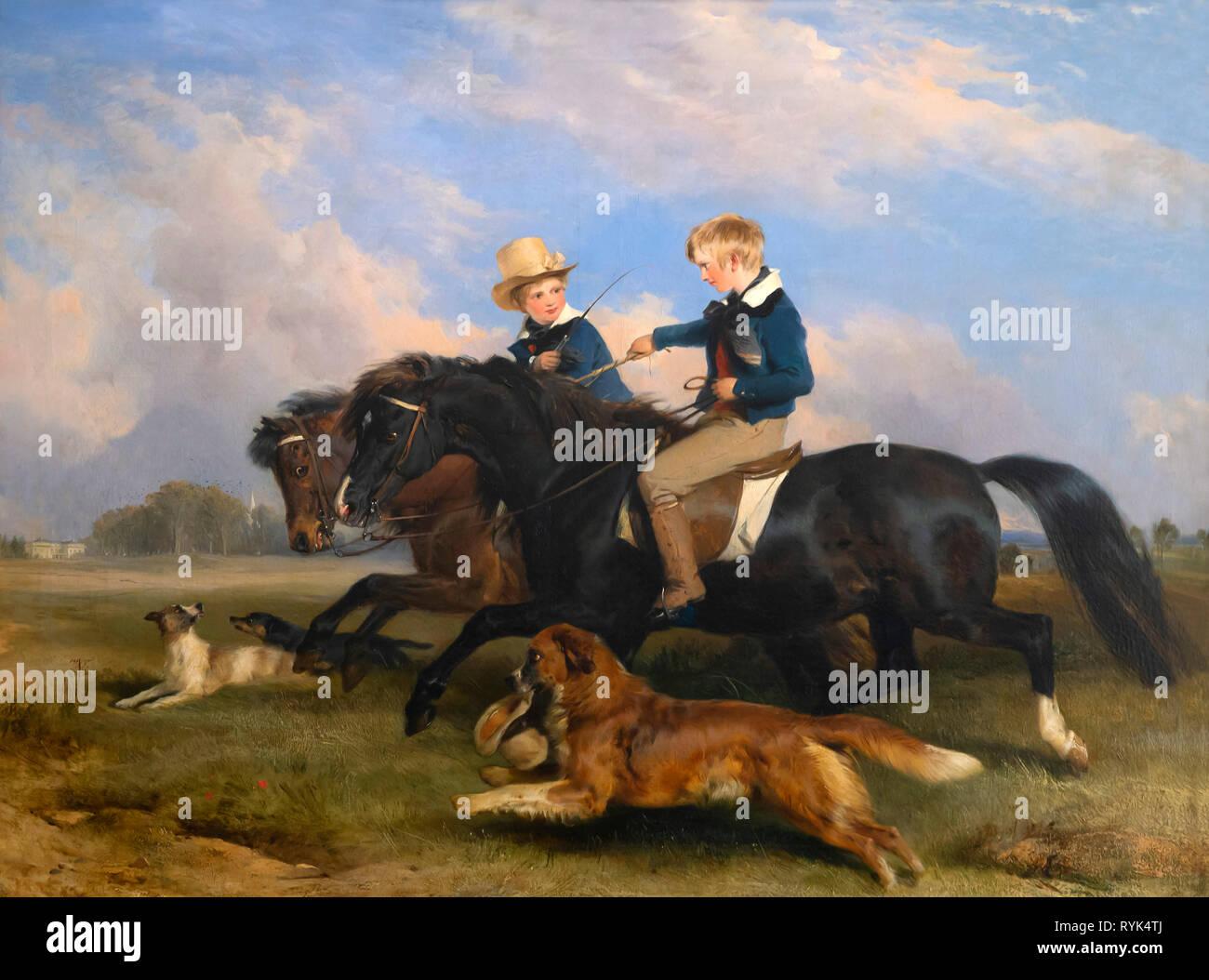 Gli onorevoli E.S. Russell e suo fratello, Sir Edwin Landseer, 1834, Immagini Stock