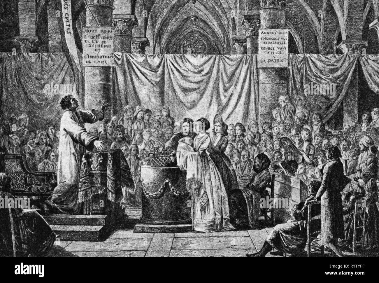 Gli eventi della Rivoluzione Francese 1789 - 1799, 'Le culte naturel', incisione da Jean-Baptiste mazzuolo (1759 - 1835), Parigi, 1797, Additional-Rights-Clearance-Info-Not-Available Immagini Stock