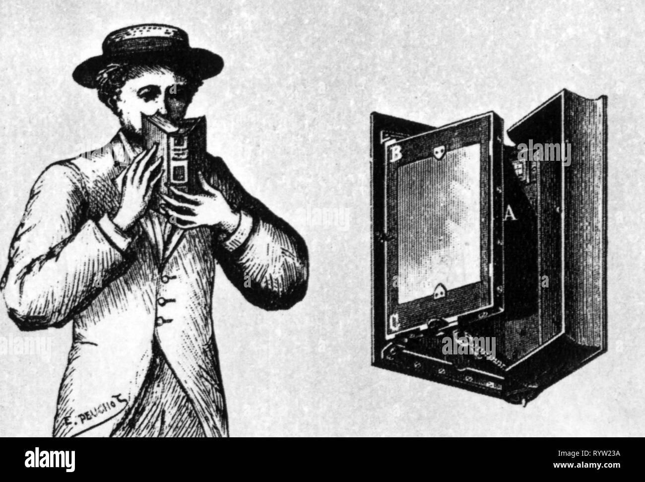 Fotografia, telecamere, fotocamera mascherato 'Photo-Volume' per piastre singole da Portefax, incisione su legno, 1895, Additional-Rights-Clearance-Info-Not-Available Immagini Stock
