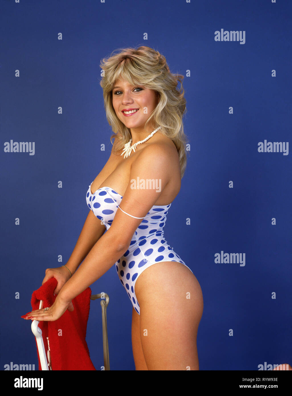 Samantha Fox che indossa un costume da bagno polkadot Immagini Stock