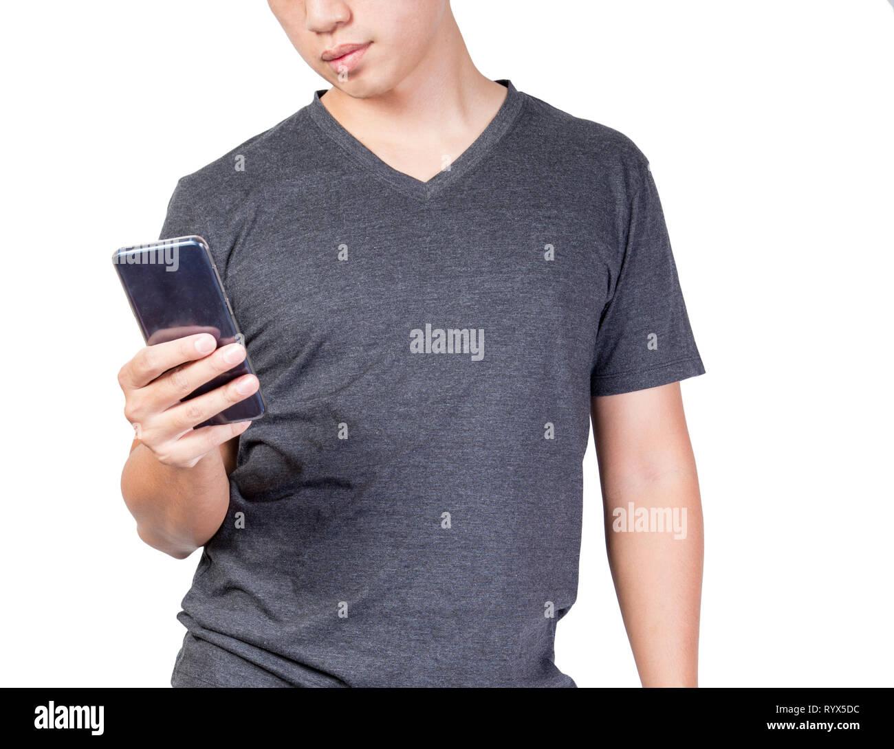 Uomo Con Fat Belly Holding Guardare Telefono Isolato Su Sfondo