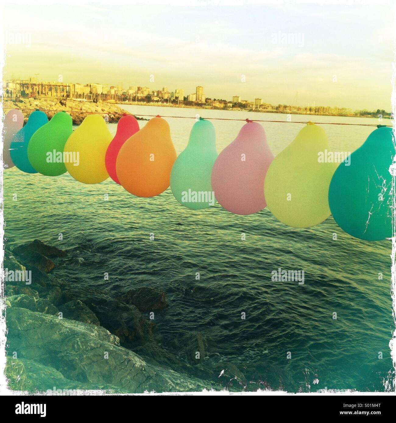 I palloni in maniera colorata Immagini Stock