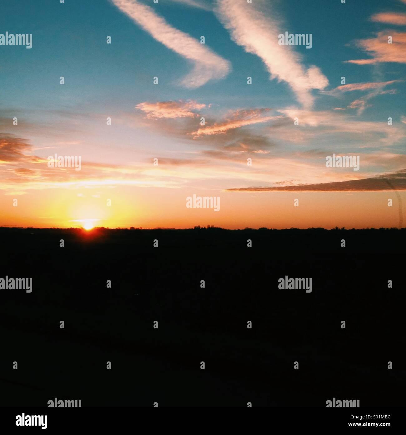La mattina presto sunrise, bellissimi colori e uno dei miei preferiti. Immagini Stock