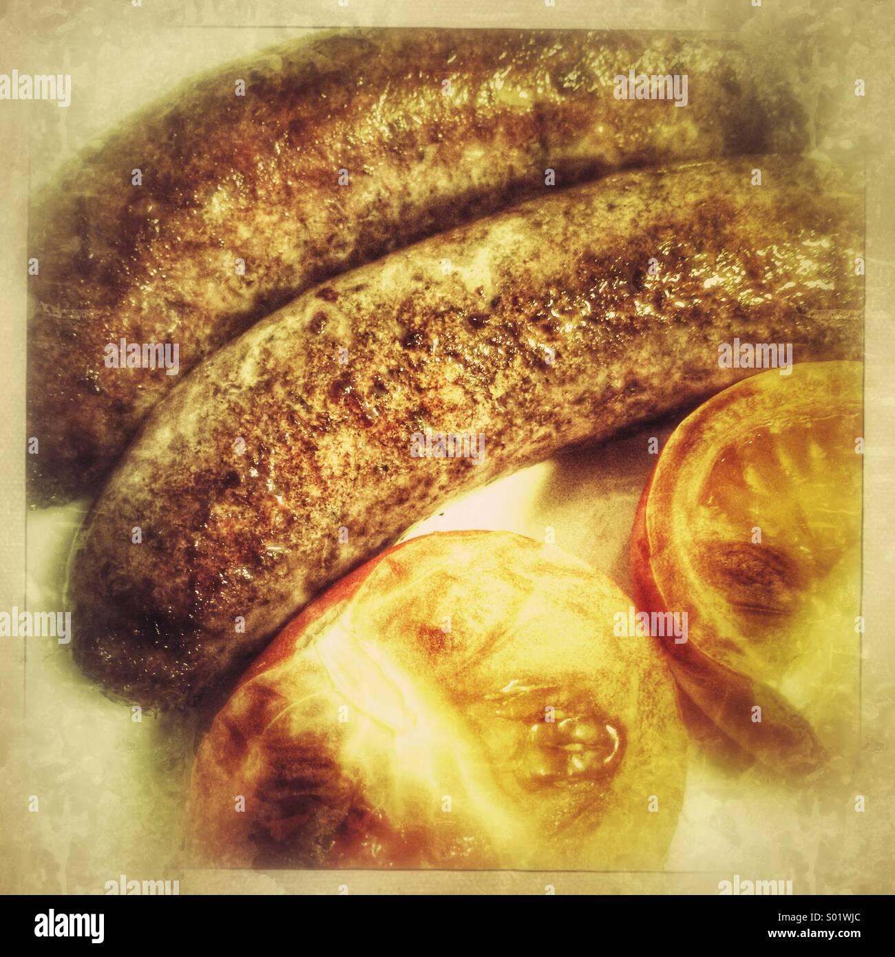 Salsicce e pomodoro Foto Stock
