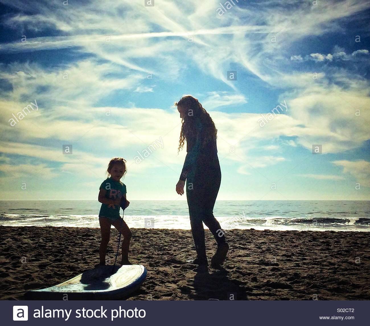 Due Beach boarder Immagini Stock