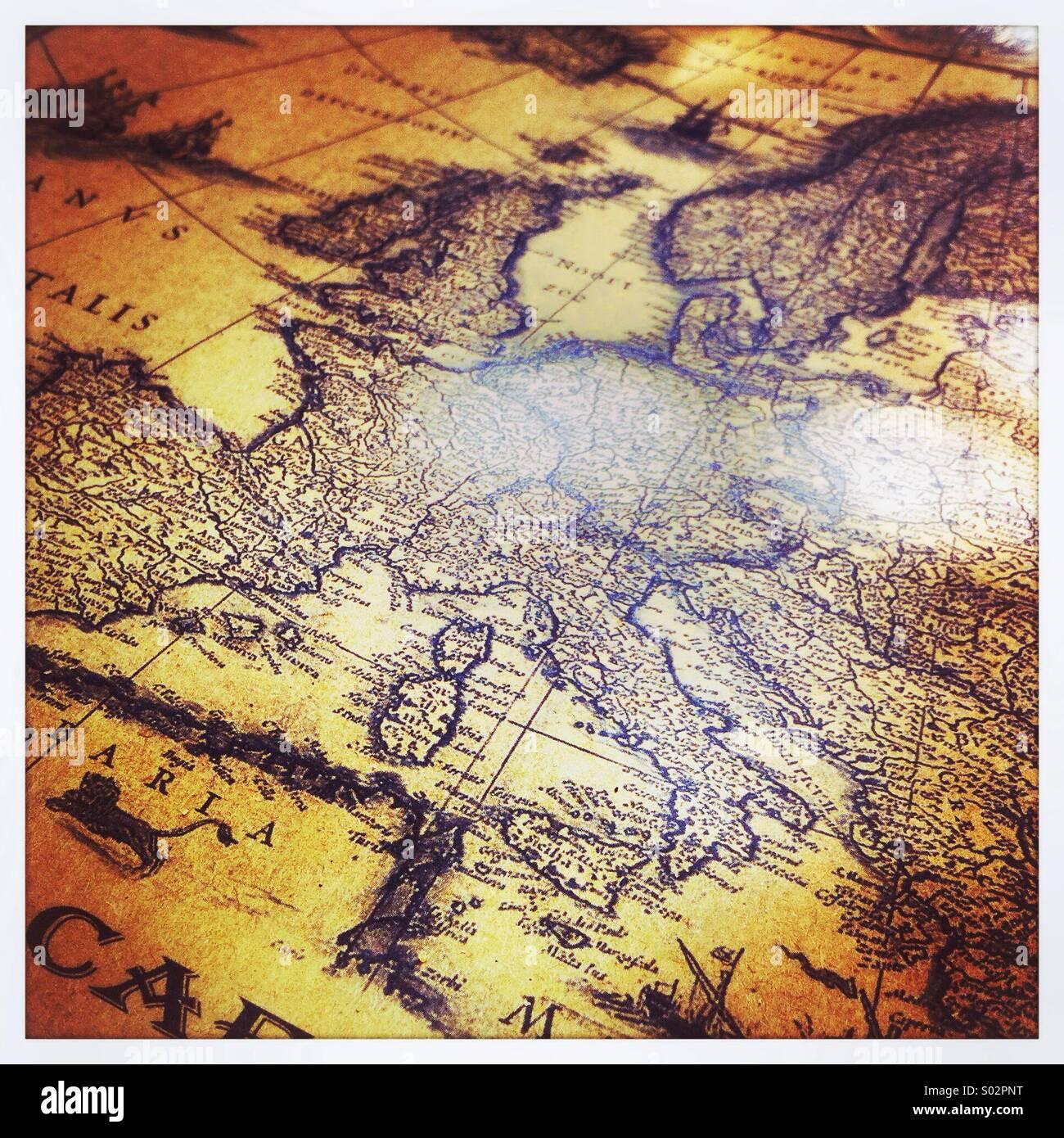Storico mappa mondiale Immagini Stock