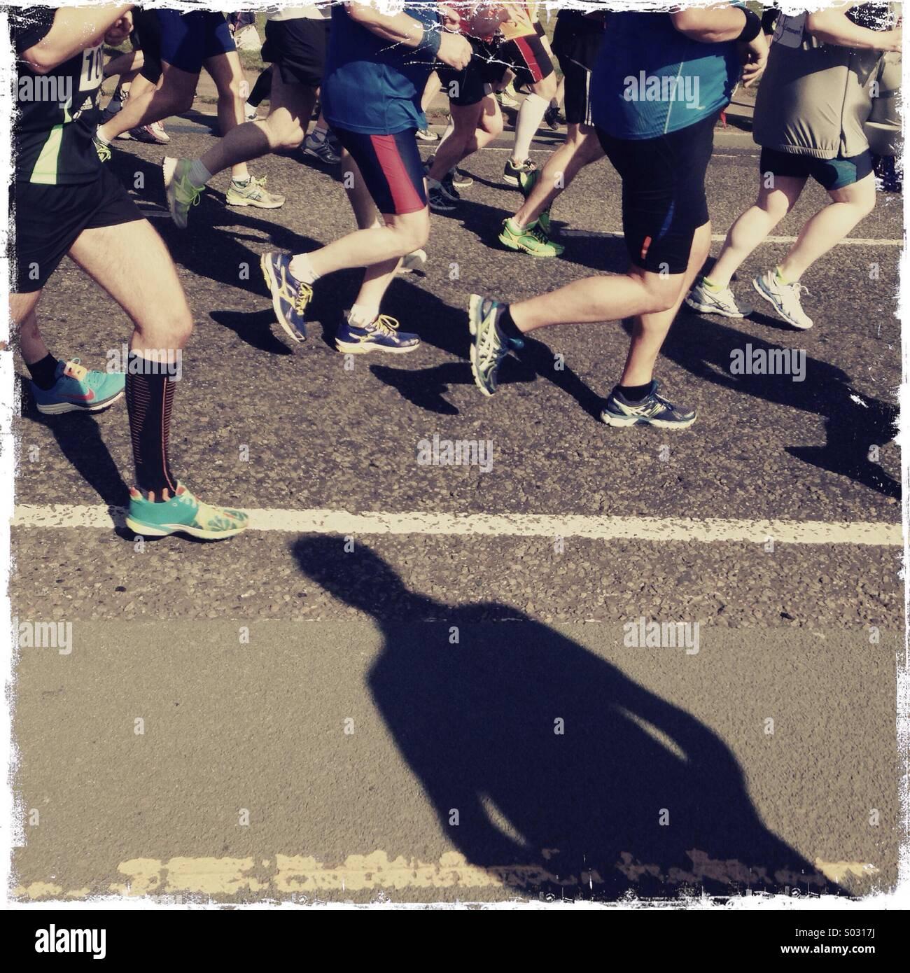 Ombra di maratona Immagini Stock