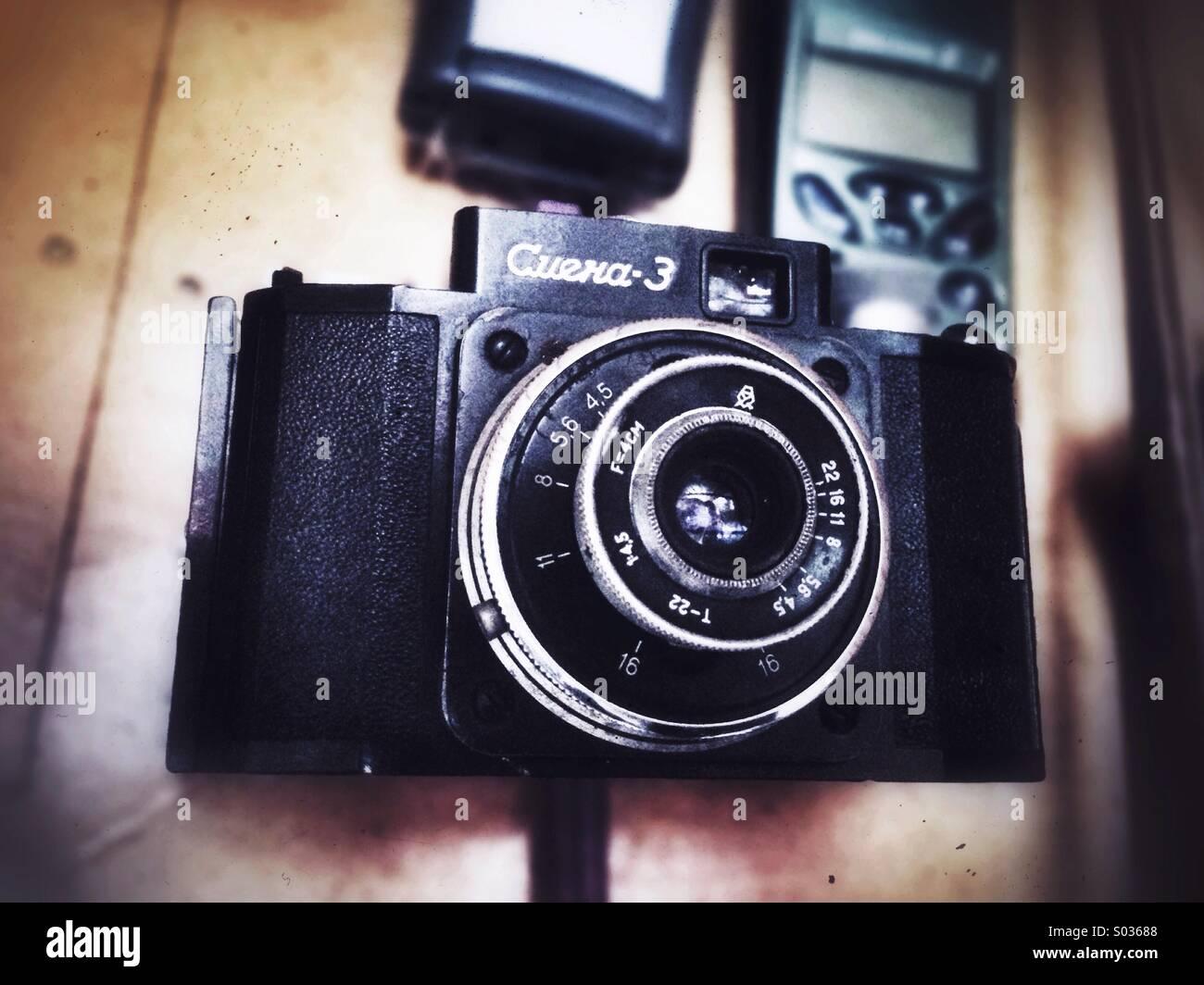 Fotocamera del mio papà, uno dei più antichi che ha. Immagini Stock