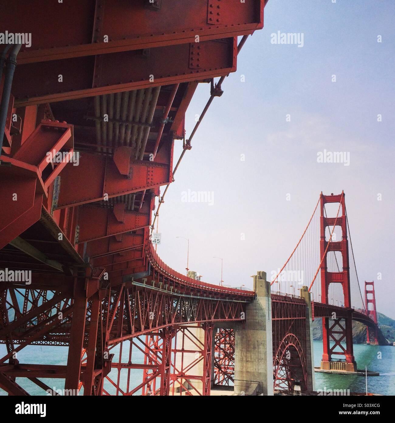 Il lato sud del Ponte Golden Gate. Immagini Stock