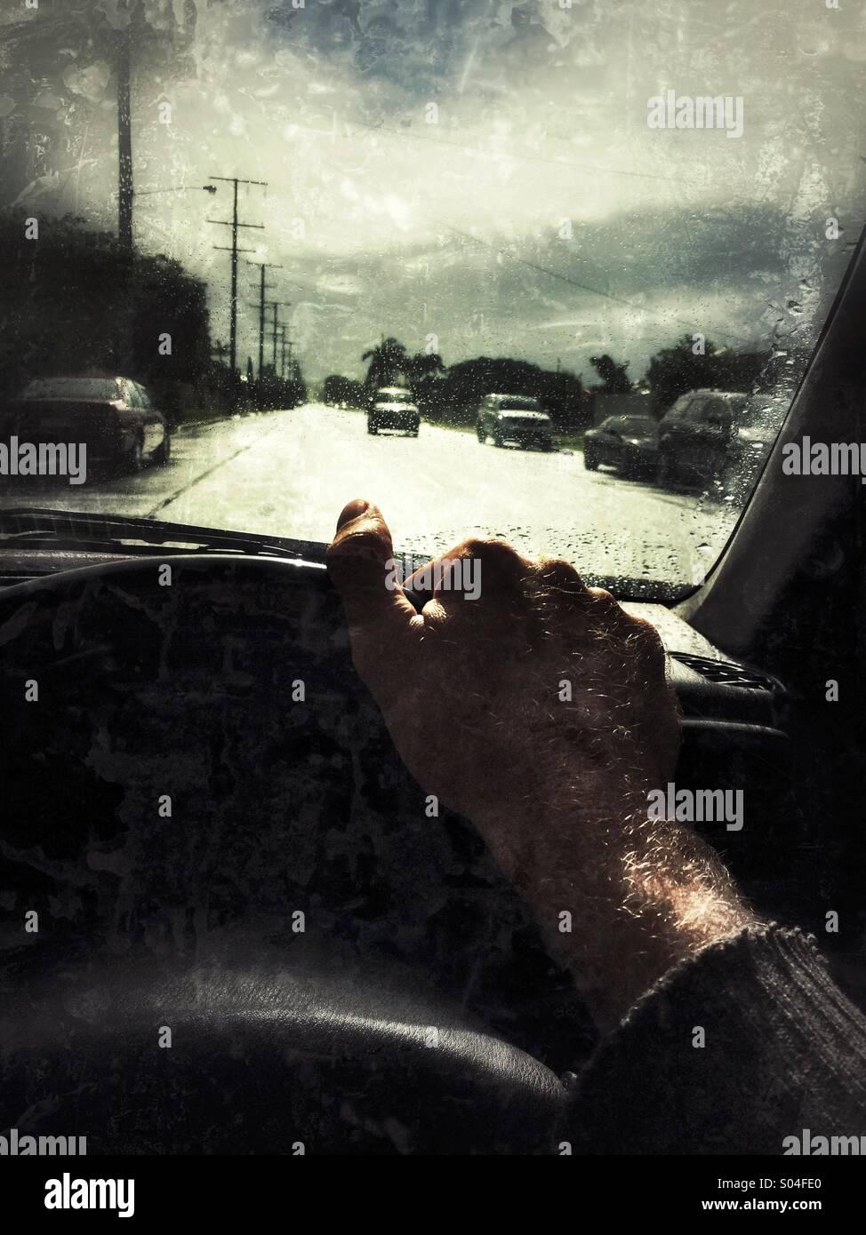 Il punto di vista del conducente Immagini Stock