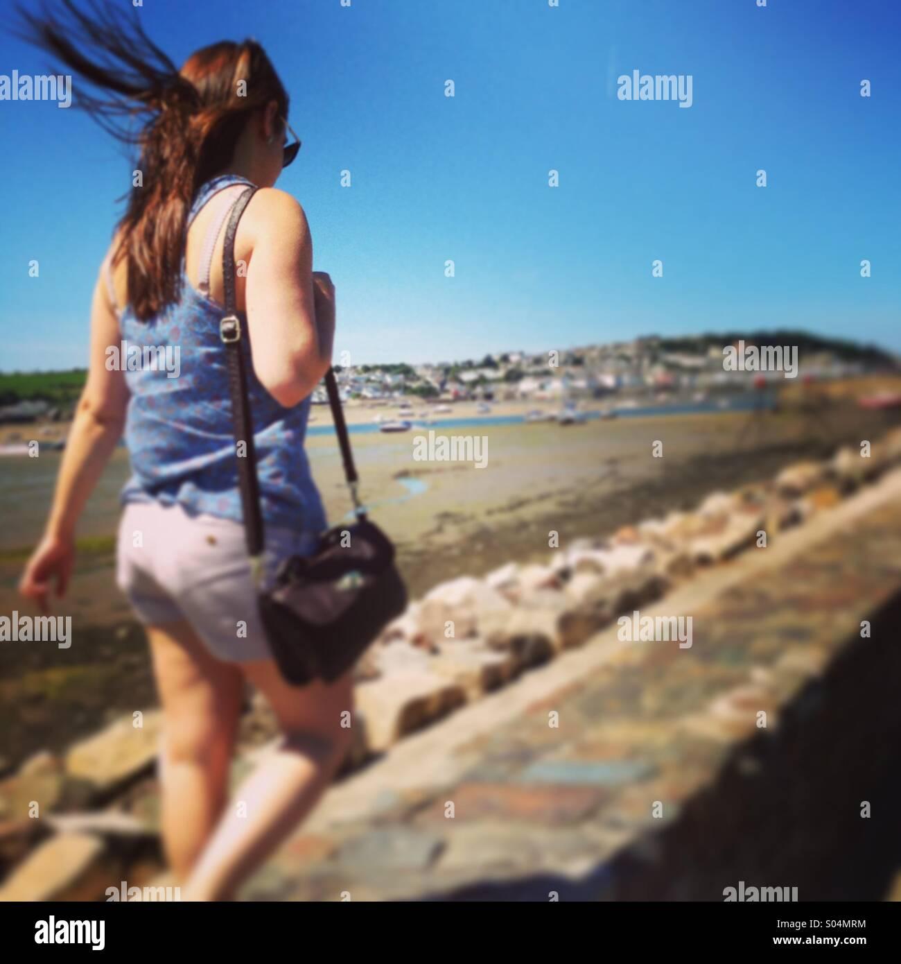 Windy passeggiata sulla spiaggia Immagini Stock
