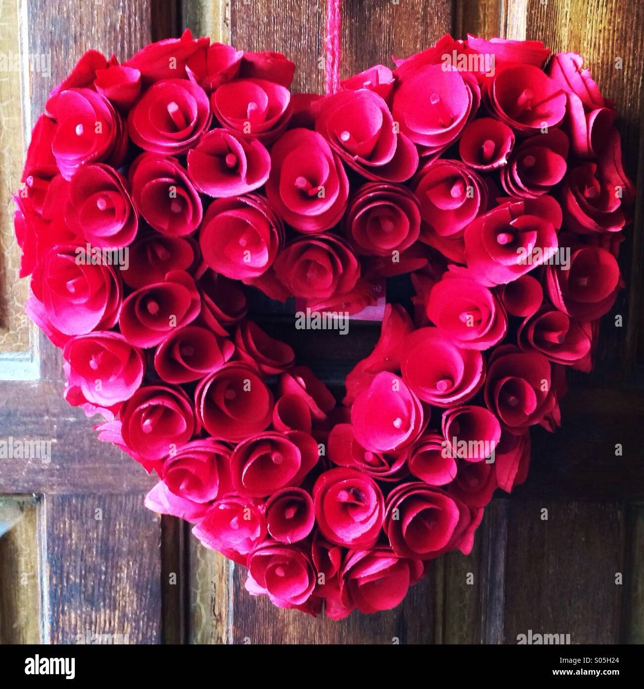 Ghirlanda di cuore rosa caldo Immagini Stock