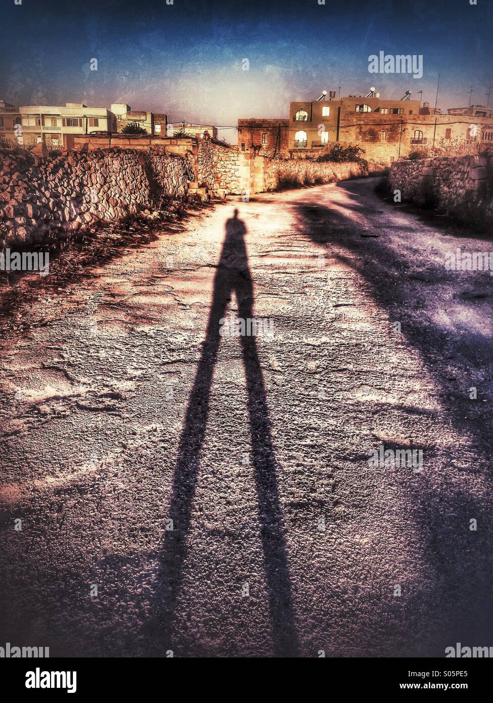 Ombra di stretching maschio su una strada di campagna all'alba Immagini Stock