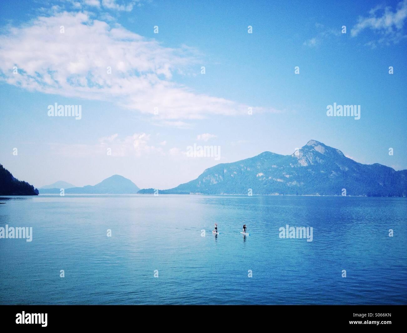 Stand Up Paddle boarders su Howe Sound, British Columbia con sfondo di montagna. Immagini Stock