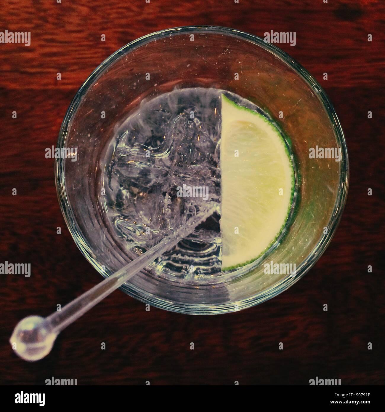 Gin Tonic con una fetta di limone. Immagini Stock