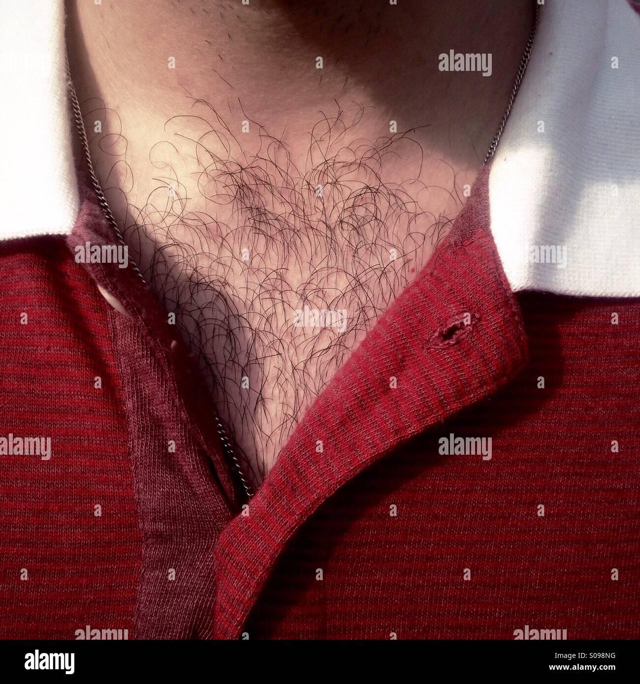 Dettaglio di un torace peloso e maglietta rossa Immagini Stock