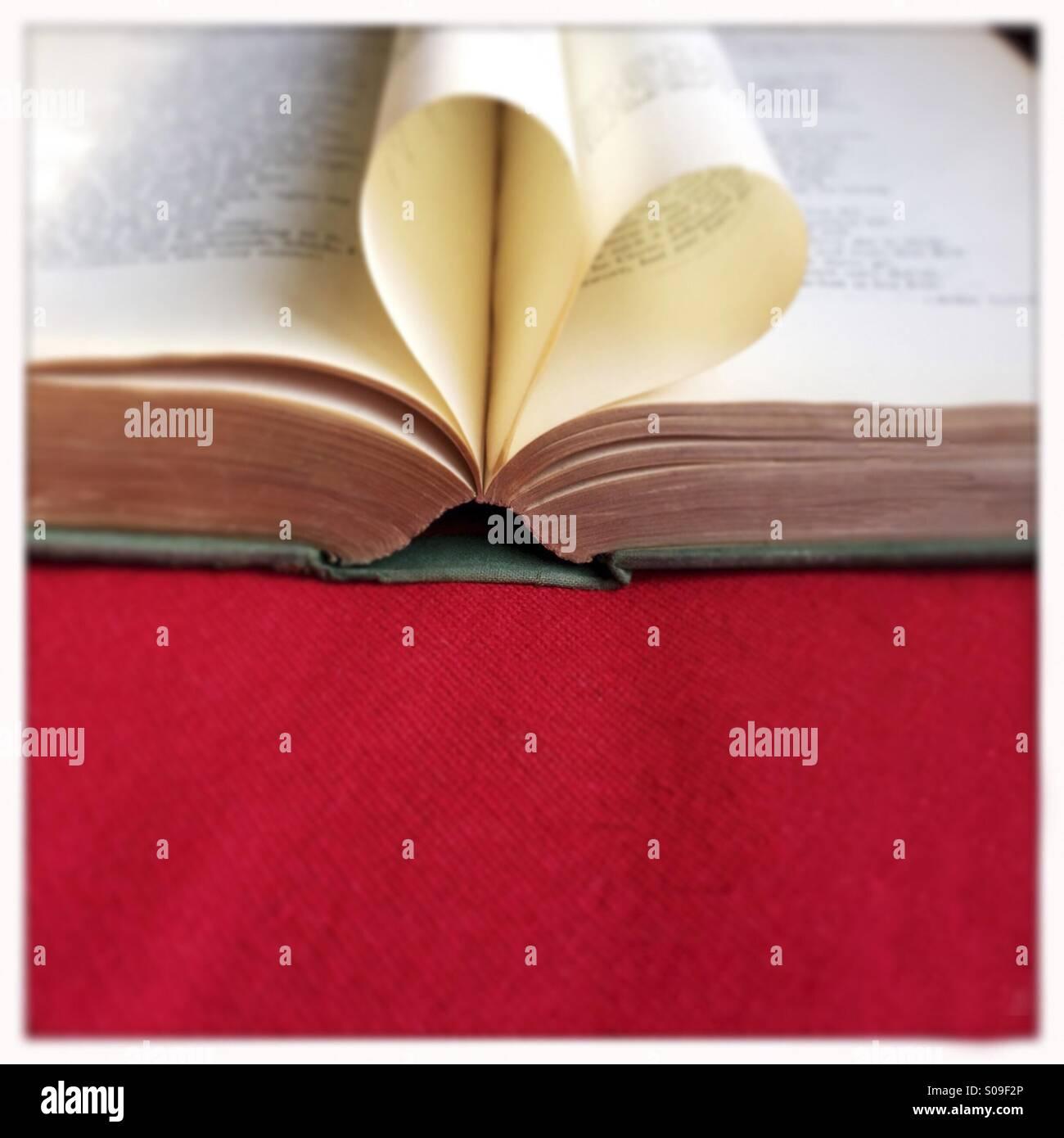 Il cuore da un vecchio libro. Tilt Shift aggiunto Immagini Stock