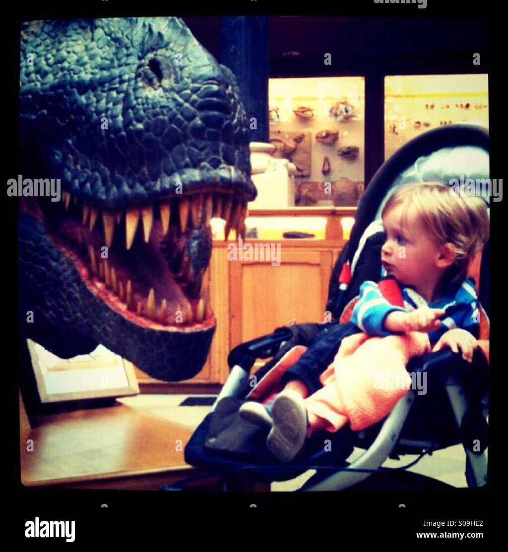 Vivere con i dinosauri Immagini Stock