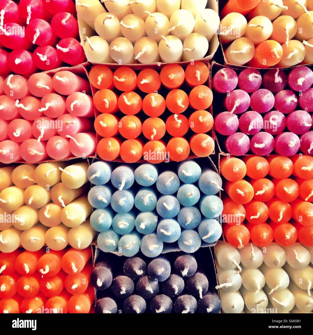 Display negozio di candele Immagini Stock
