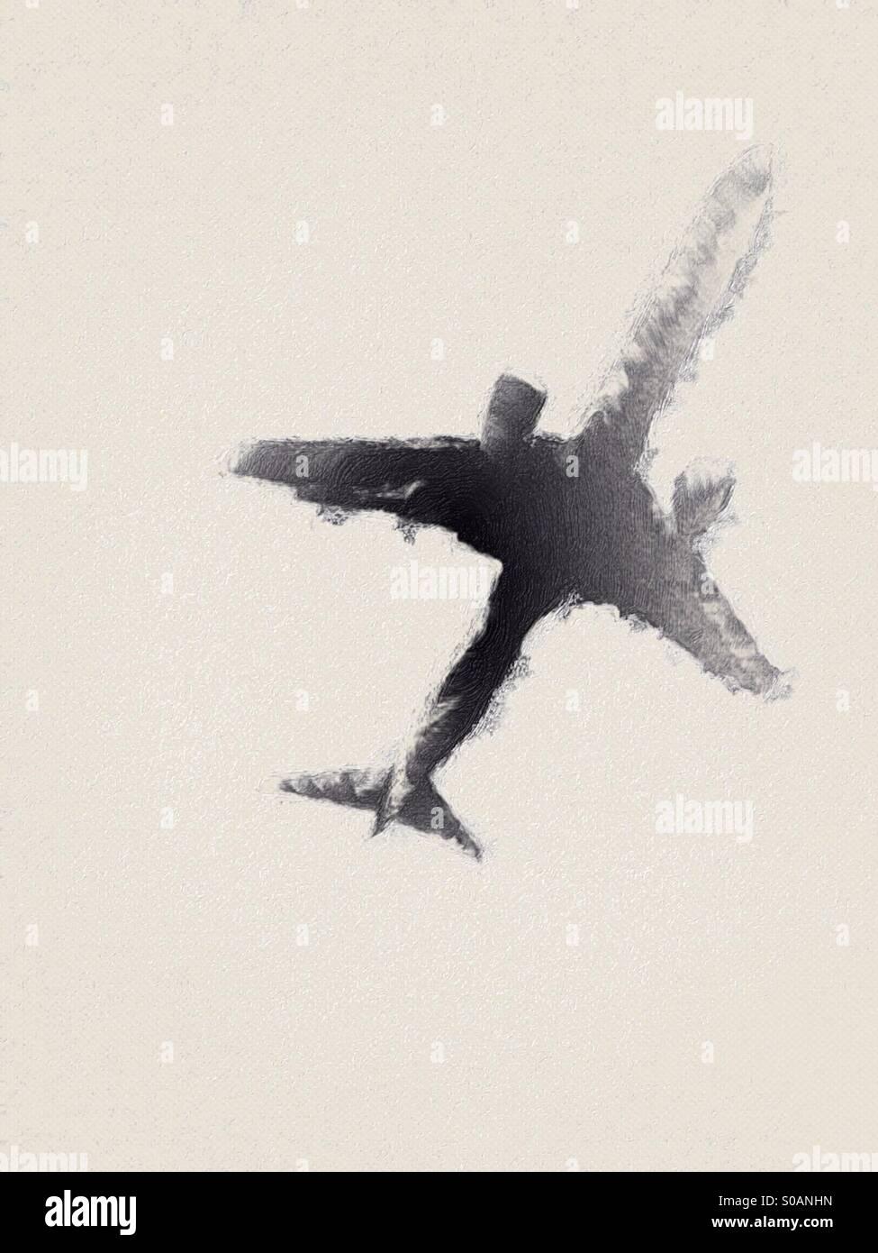 Stile astratto illustrazione di un basso volare passeggeri aerei jet. Immagini Stock