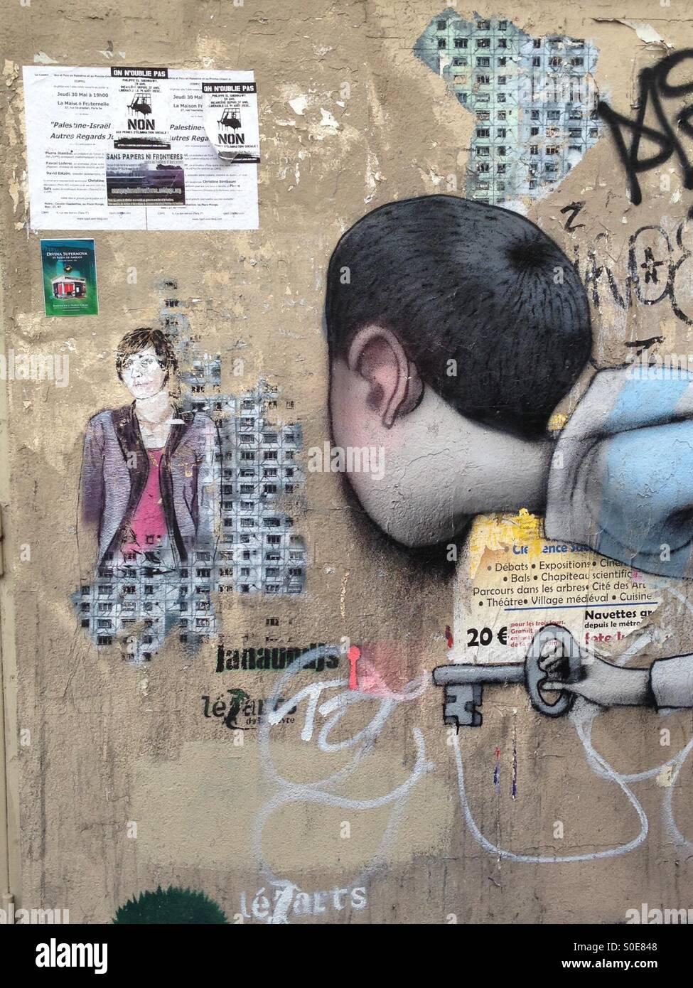 Graffiti en París Immagini Stock