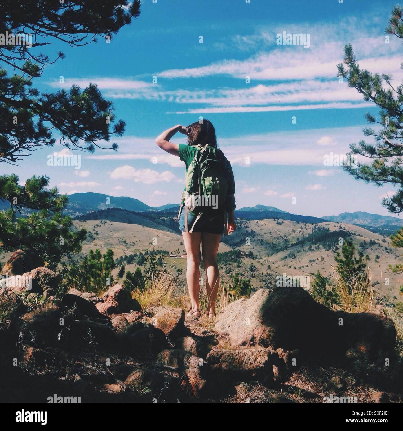 Esplorare le montagne Immagini Stock