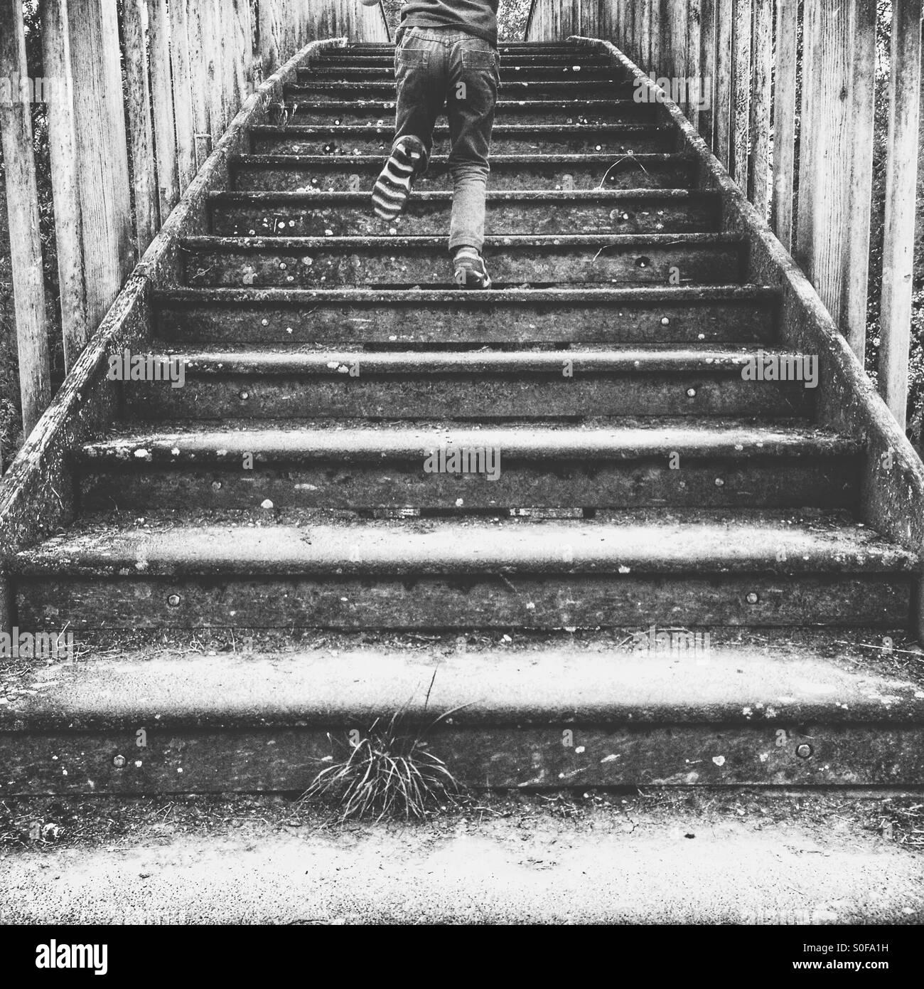 Bambino in esecuzione su gradini Immagini Stock
