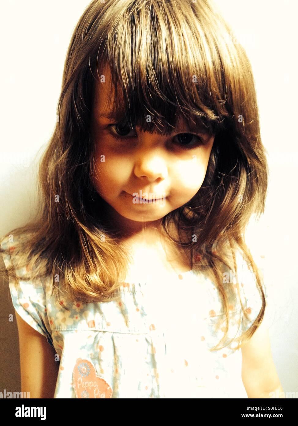 Ritratto di 3 anno vecchia ragazza Immagini Stock