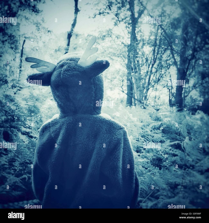 Un bambino's Dream - per esplorare la foresta in un onesie Immagini Stock
