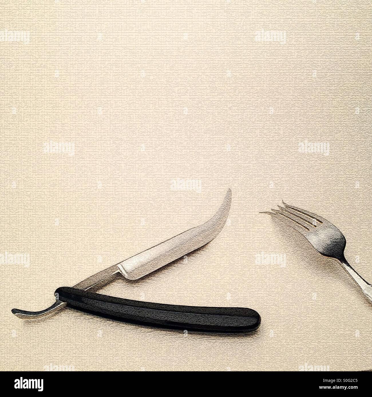 Manipolati digitalmente l'immagine che mostra gola tagliata razor coltello e forchetta dando un futuristico Immagini Stock