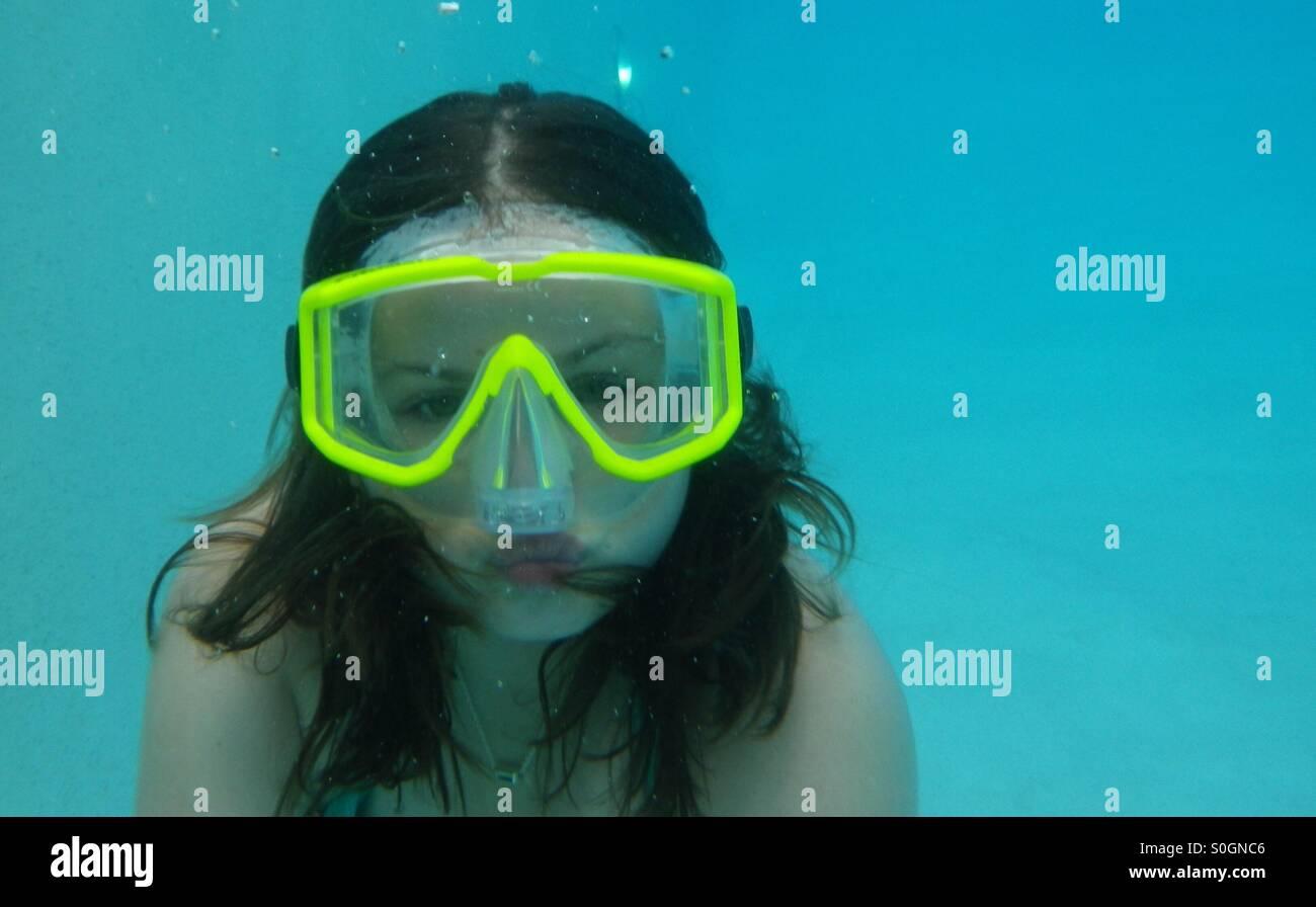 Selfie underwater Immagini Stock