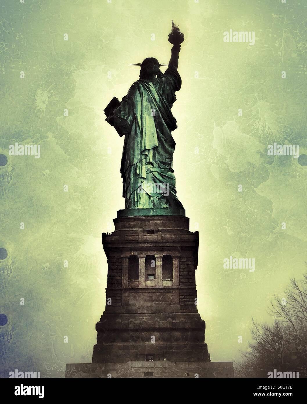 Vista posteriore della Statua della Libertà, New York, Stati Uniti d'America Foto Stock