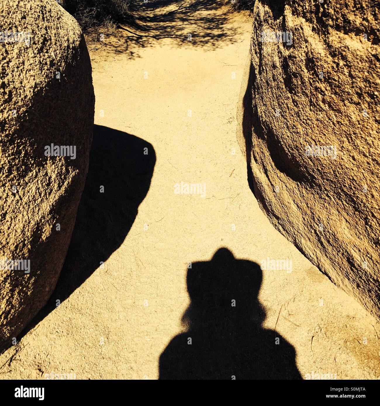 La mia ombra escursioni nel deserto Mohave in San Bernardino County, California USA Immagini Stock