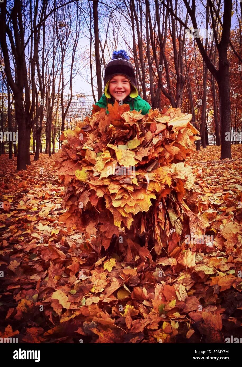 Ragazzo giocare con foglie Immagini Stock