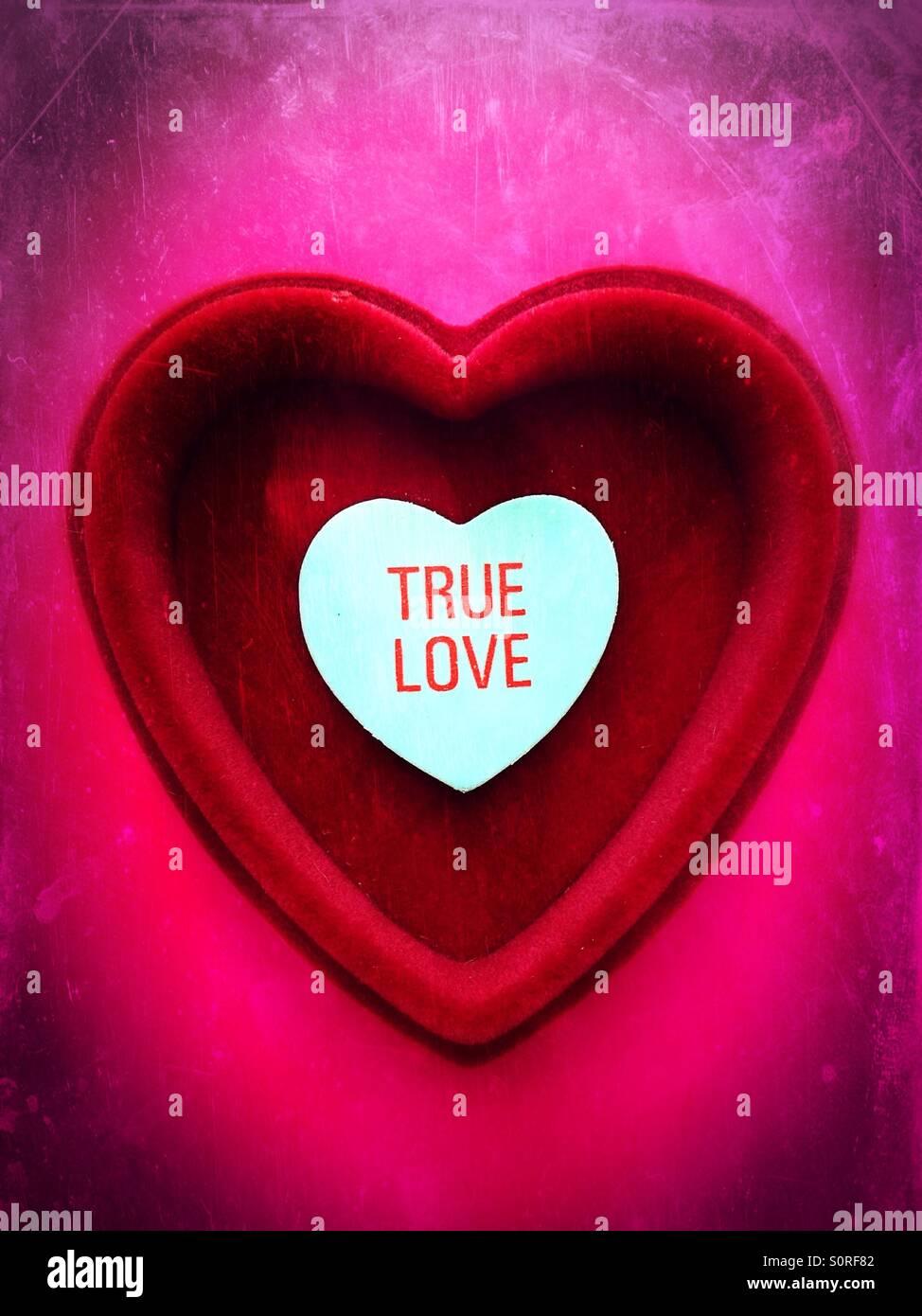 Un cuore dentro un cuore con le parole il vero amore scritto su di esso. Immagini Stock