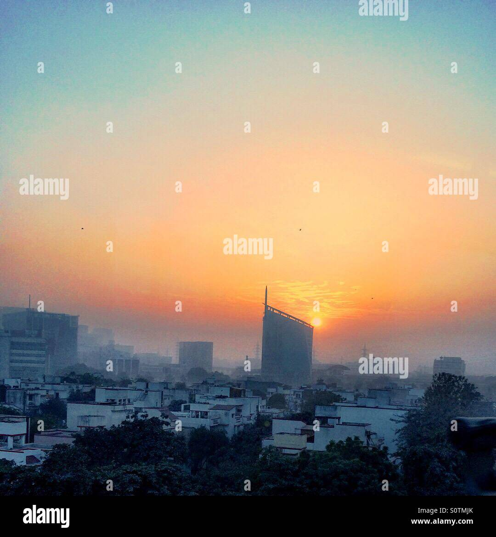 Gurgaon cityscape al tramonto Immagini Stock