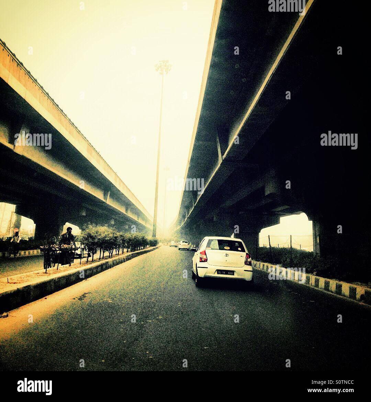 Il cavalcavia in Gurgaon Immagini Stock