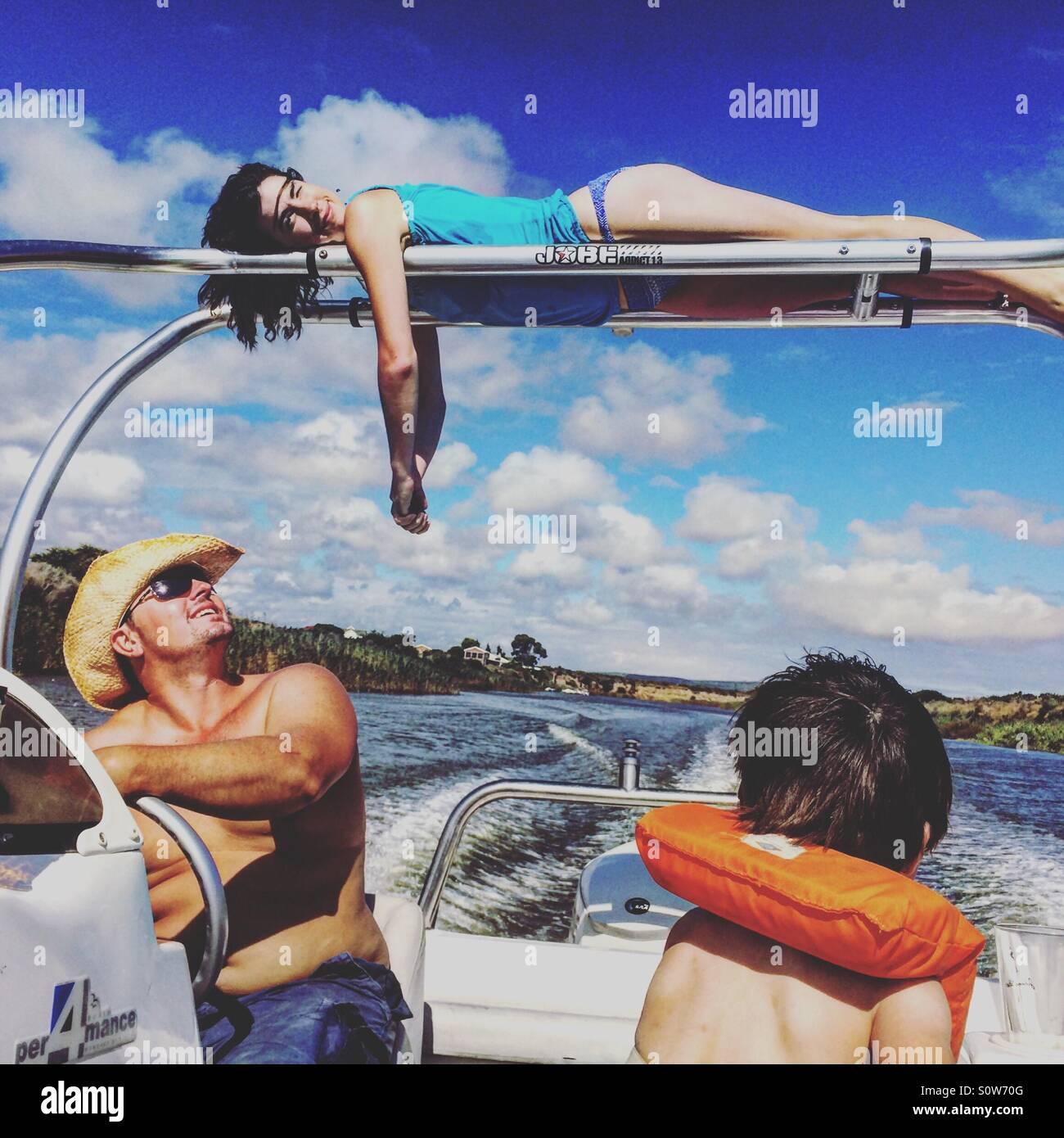 Su una barca Immagini Stock